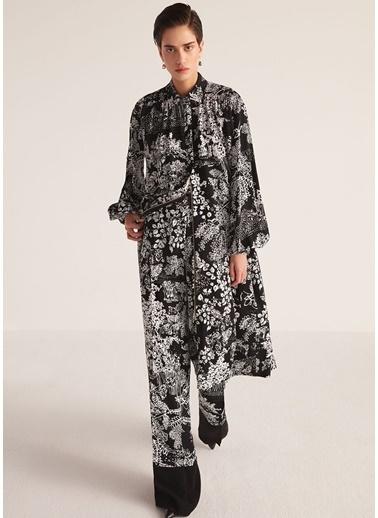 Beymen Collection Botanik Desenli Kuşaklı Midi Krep Elbise Siyah